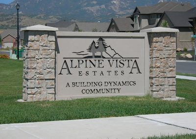 Alpine Vista Estates Sign Verti-Crete